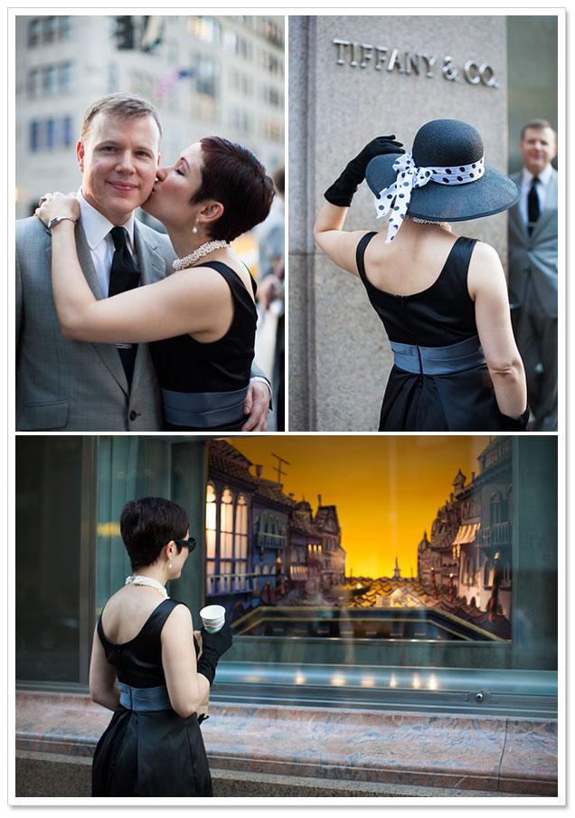 engagement photos from Breakfast at Tiffany's themed shoot
