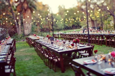 long tables for backyard wedding