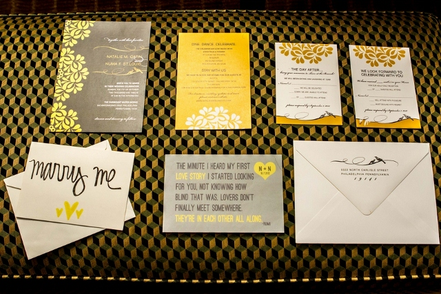 grey and yellow invitation suite for wedding