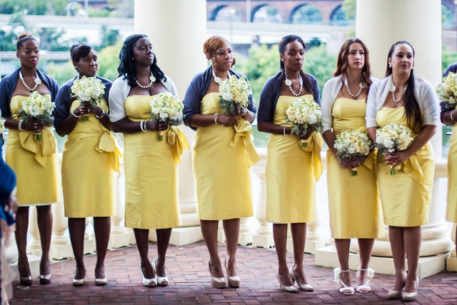 yellow bridesmaids dresses with blue shrugs