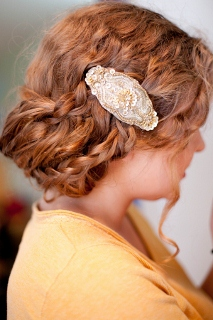 antique barette in wedding updo