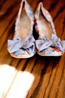 flat bridal shoes floral print