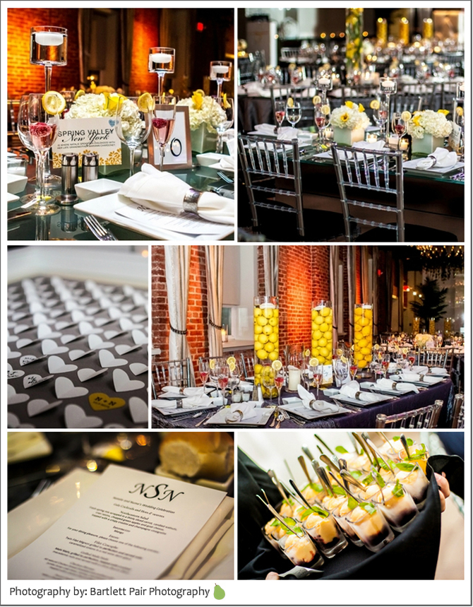 wedding tablescapes in yellow and grey