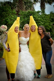 costumed characters with bride