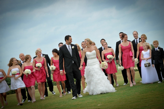 short pink bridesmaids dresses and bridal party
