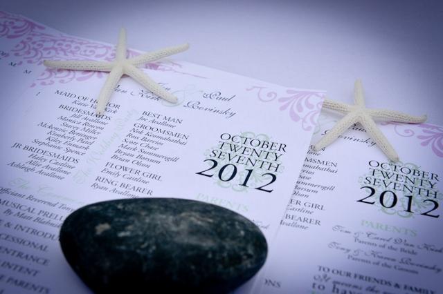 Florida beach theme wedding program
