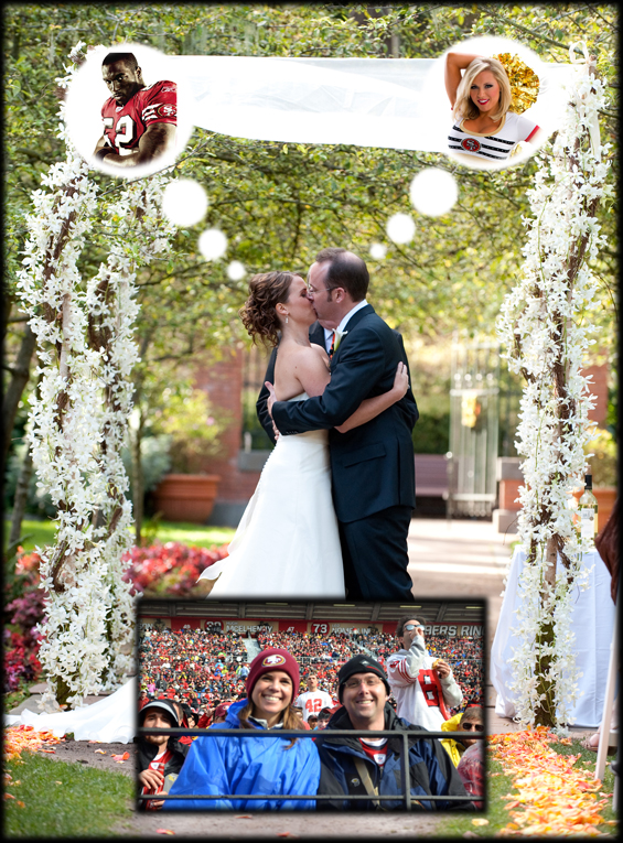 wedding photo couple 49ers fans