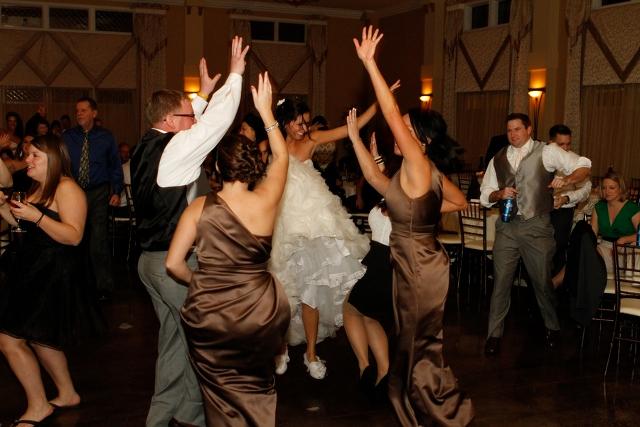 bride in slippers dances