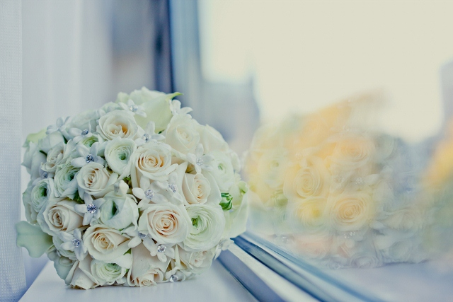 jeweled white bridal bouquet