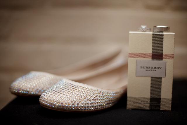 wedding rings, perfume, wedding shoes