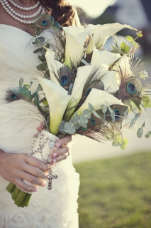 peacock feathers bridal bouquet