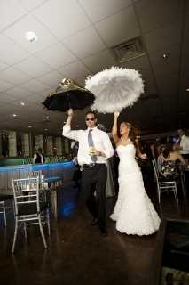 parasols bride and groom