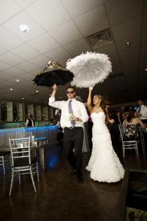 parasols bride and groom
