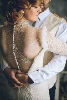 wedding dress photography with buttons