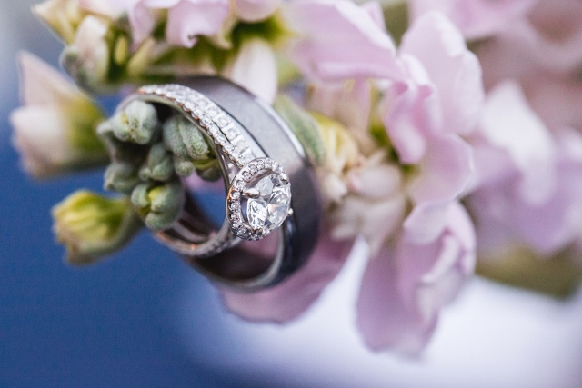 flower with wedding rings