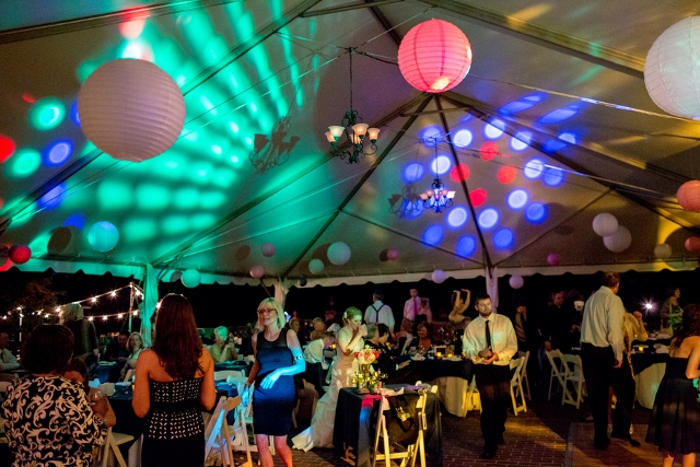 wedding tent with dancing