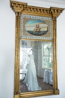 wedding photography dress seen in mirror