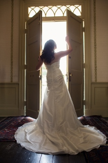 bride from back in doorway