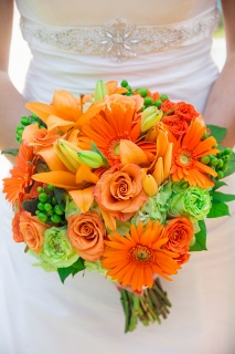 bridal bouquet orange and green