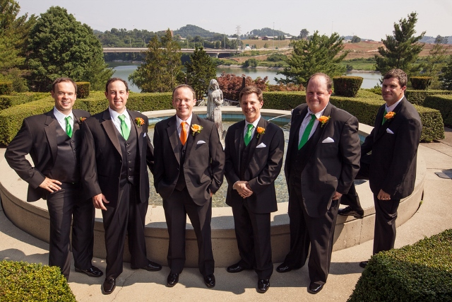 groomsmen wearing orange and green