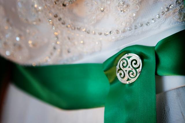green irish sash on wedding dress