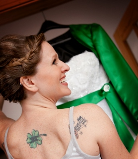 green wedding dress bride with tattoos
