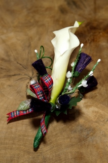 Calla Lilly boutonniere with plaid ribbon
