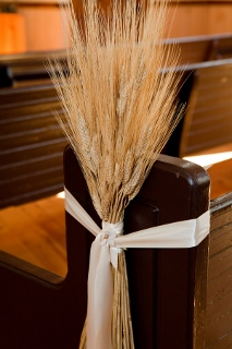 wheat as marker on church aisle