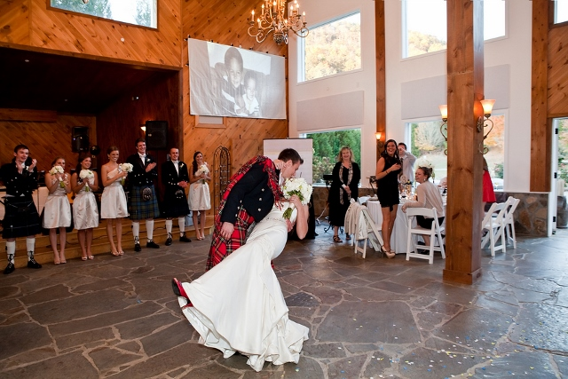 groom in kilt dips bride