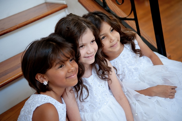 junior bridesmaids in white