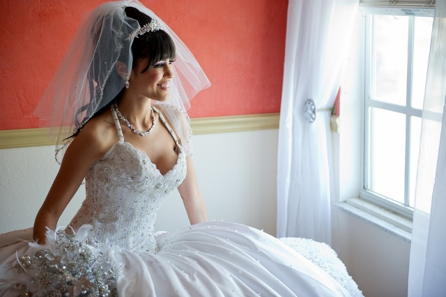 white wedding dress bride with veil