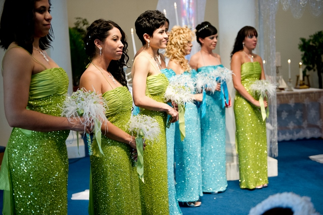 shiny blue and green bridesmaids dresses