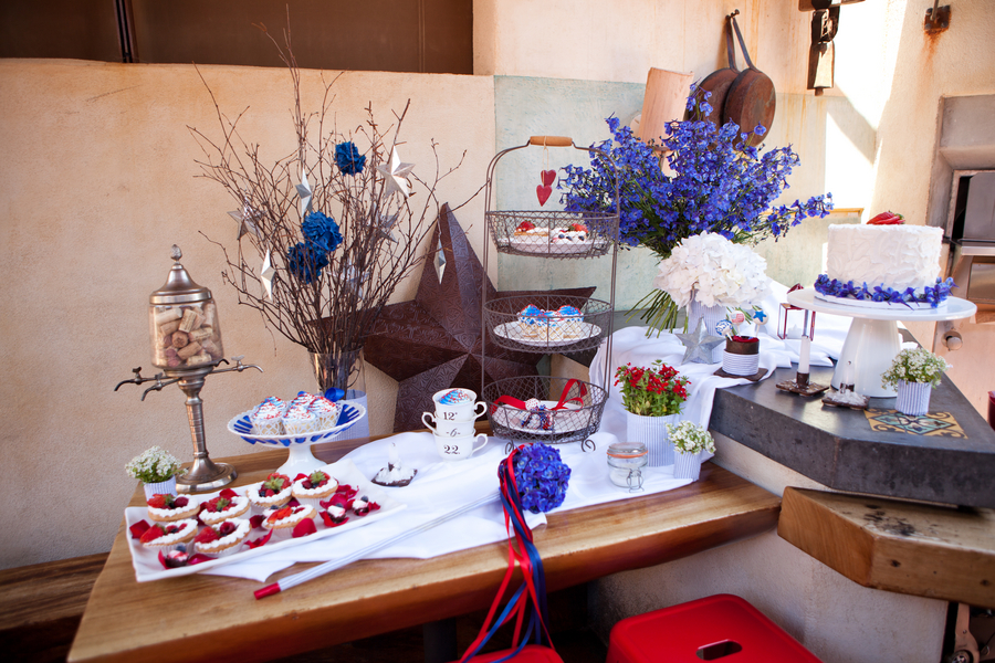 A beautiful spread of blue, white and red!