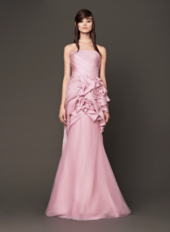 pink wedding dress vera wang