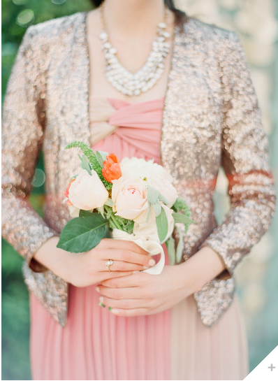 pink wedding dress with jacket