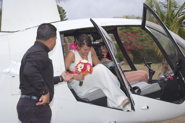 bride in helicopter at wedding