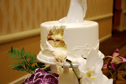 wedding cake with missing chunk