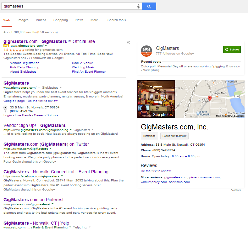 Search results page with social media links