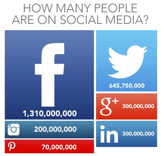 Number of users on social media platforms